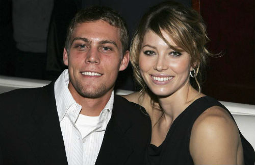 Jessica Biel with brother Justin Biel